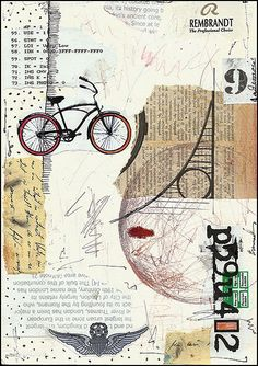 collage & mixed media  word and image identity project idea