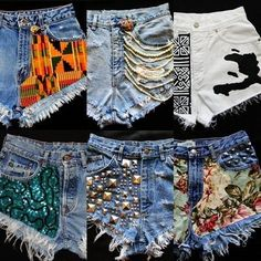 I'm gunna get creative with my old jeans that are too big this summer :) Oh yeahh Short Jeans Feminina, Plus Size Stretch Jeans, Denim Fashion, Fashion Outfits, Diy Shorts, Denim Crafts, Painted Clothes, Recycled Denim, Refashioned Clothes