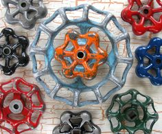 Colorful group of Vintage Valve Handles, Garden decor, Steampunk,  Assemblage, Industrial, Collection of 9 Aluminum
