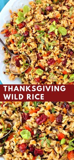 Thanksgiving Wild Rice - Veggie Society - Thanksgiving Wild Rice Simple Thanksgiving rice recipe made with wild rice, sweet and tangy cranberries, leeks and herbs, a lovely festive side dish worthy of the holiday dinner. Best Thanksgiving Recipes, Vegetarian Thanksgiving, Side Dishes For Thanksgiving, Side Dishes For Turkey, Fall Vegetarian Recipes, Vegetarian Rice Dishes, Christmas Dinner Side Dishes, Easy Thanksgiving Dinner, Rice Side Dishes