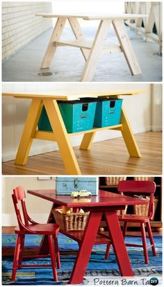 DIY Pottery Barn Kids Table for Two Instructions - Back-To-School Kids DIY Ideas Projects table Easy DIY Back-To-School Kids Furniture Ideas Projects Instructions Wood Projects For Kids, Woodworking Projects For Kids, Woodworking Crafts, Kids Picnic Table, Kid Table, Kids Bedroom Furniture, Diy Furniture, Furniture Stores, Bedroom Kids