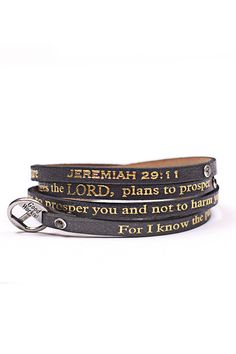 Good Works(s) Leather wrap around bracelet with stones with gold Jeremiah 29:11 inscription