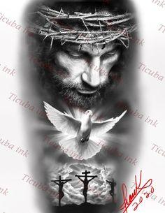 Jesus Tattoo Design, Sketch Tattoo Design, Angel Tattoo Designs, Christus Tattoo, Religous Tattoo, Religious Tattoo Sleeves, Crucifix Tattoo, Religion Tattoos, Bible Quote Tattoos