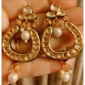Elegant Kundan And Pearl Gold Plated Danglers