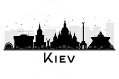 Kiev City skyline black and white silhouette. Simple flat concept for tourism presentation, banner, placard or web site. Black And White City, Skyline Silhouette, City Illustration, Business Travel, Tourism, Instagram, Architecture, Building, Ukraine