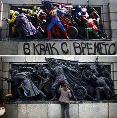 The Russian Banksy remixes bronze Soviet-era monuments into technicolor dioramas.