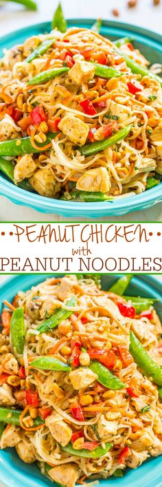 ****Peanut Chicken with Peanut Noodles - Easy, ready in 20 minutes, tastes better, and way healthier than takeout! Peanut sauce automatically makes everything taste AMAZING!*Sauce needs cup soy sauce. Homemade Peanut Sauce, Chicken In Peanut Sauce, Cashew Chicken, Sesame Chicken, Gnocchi, Asian Recipes, Ethnic Recipes, Oriental Recipes, Food Dishes