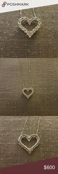 TruMiracle Diamond Heart Pendant Necklace 10k white gold, 1/2 ct. t.w. diamond never worn necklace comes with 18 inch 10k chain.  Diamond and metal tested, 100% authentic!  Beautiful piece just not my style, willing to negotiate price! Jewelry Necklaces