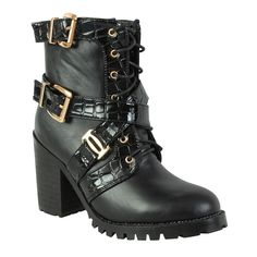 Ladies High Heel Platform Cleated Sole Womens Punk Goth Buckle Biker Boots Size