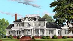 Plan 9148GU: Charming Full Length 2-Story Porches | Architectural ...