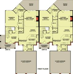 This is a 2 unit townhouse design with each unit consisting of 3 bedrooms and 2 full and 1 half bath.First floor of each unit is sq. and the second floor is 690 sq.Each unit has its own 2 car garage and rear deck. Narrow Lot House Plans, House Plans One Story, Family House Plans, Family Houses, Tiny Houses, Duplex Floor Plans, Garage Floor Plans, House Floor Plans, Townhouse Designs