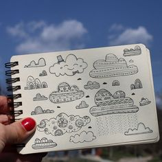 Day 11 of Cloud. Doodle Designs, Doodle Patterns, Sketchbook Challenge, Cloud Illustration, Cloud Drawing, Illustrator, Watercolor Journal, Doodle Art Journals, Tangle Doodle