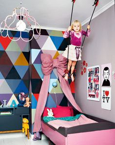 great chandelier and trapeze in this kid's room  33 Dream Bedrooms for Kids -