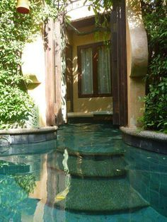 Right outside the door pool