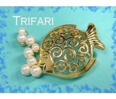 TRIFARI  Tropical Fish Pearl Brooch Open Swirl Belly Design Vintage Jewelry $25  www.FindMeTreasure.com  CLICK TWICE ON PHOTO TO BUY