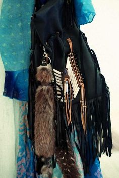 fox tail and fringe purse