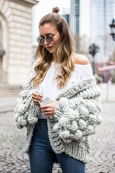 Chunky Pom Pom Knit Cardigan, Mumshandmade, Outfit, Casual, Livia Auer