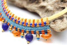 Brass and Macrame Necklace,Egypcian Collar Ethnic Jewelry, Colorful Necklace, Boho Chic Necklace, Ancient Style Jewelry