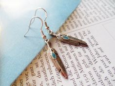 Silver feather earrings with sterling silver hooks, nature inspired jewelry, Selma Dreams jewellery gifts for her under 15 usd by SelmaDreams on Etsy
