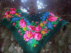 Ukrainian shawl Floral scarf Babushka shawl от LuckyElenaShop