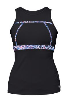 Lija Women's Compression First Lap Tank Top, Black/Babylon Print, Small. Crewneck silhouette with Dropped back neckline. Subtle contrast print or mesh detail on front & back. Keyhole opening at upper back.