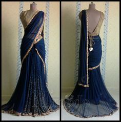 Net pre-stitched saree, navy blue and gold combination, scattered bead work on pleats
