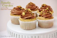 Pistachio Cupcakes with Chocolate Frosting (they are gluten free and dairy free/egg free too)