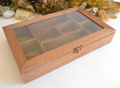 Wooden Tea box with glass display bamboo jewelry box