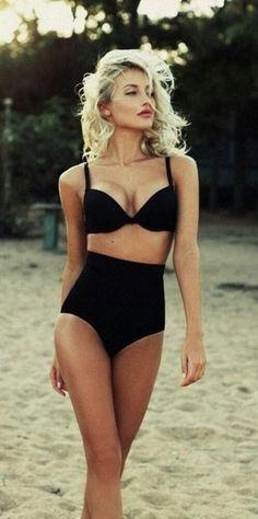 Swimwear: black high waisted bikini black bikini