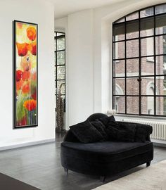 Original painting of red poppies in the field, a colorful vertical flower painting for home & office decor. When I paint poppies, its a celebration of blossom, colors and light. The red, green and yellow vivid colors of this canvas painting illuminate the painting and the whole room