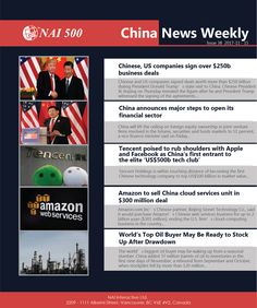 #NAI500 #ChinaNews Weekly 38 – Chinese, US companies sign over $250b business deals; China announces major steps to open its financial sector; Tencent posed to rub shoulders with Apple and Facebook as China's first entrant to the elite 'US$500b tech club'; #amazon  to sell China cloud services unit in $300 million deal; World's Top #oil  Buyer May be Ready to stock Up After Drawdown #financial  #oilandgas  #politics  #technology Us Companies, Deceit, Oil And Gas, Cloud, Politics, Chinese, The Unit, Apple, Technology