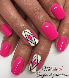 Make an original manicure for Valentine's Day - My Nails Creative Nail Designs, Creative Nails, Nail Art Designs, Pedicure Designs, Nails Design, Nail Designs Hot Pink, Colorful Nail Designs, French Nails, Pretty Nails