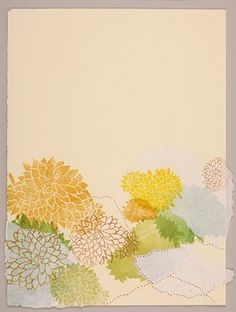 Woodcut print with drawing, sewing, and collage by Chelsea Clarke. Vertical landscape with succulents, green and yellow.