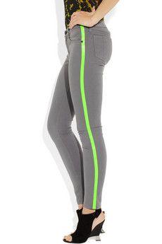 rag & bone JEAN  Neon-striped mid-rise skinny jeans