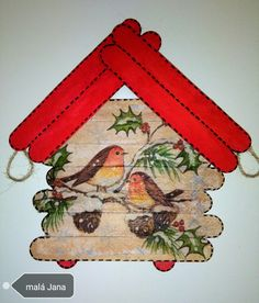 Zimní dekorace-špachtle a ubrousek Popsicle Crafts, Craft Stick Crafts, Diy And Crafts, Christmas Art, Christmas Ornaments, Stick Art, Ideias Diy, Theme Noel, Wishing Well