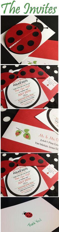 Ladybug invitations, ladybug birthday: