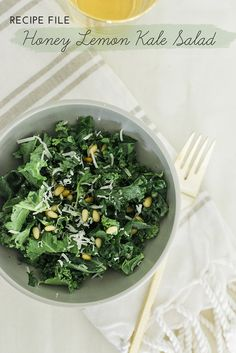 Light & Fresh Honey Lemon Kale Salad - theglitterguide.com
