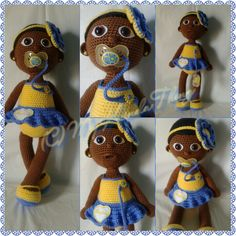 Crochet Doll; African American girl, baby ballerina with removable headband and real pacifier!