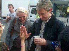 Martin + Amanda ♥ {Twitter / believeinsh2012: Martin hi-fiving a young fan. She was SOOOO excited she couldn't speak. #setlock }