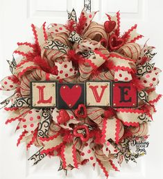 "Burlap Valentine's Day ""LOVE"" Sign Deco Mesh Wreath"