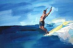 Awesome surf art. Hang ten on a longboard #surf #art