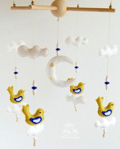 Baby MOBILE White Blue Olive Bird Baby Mobile by BlueOwlHome