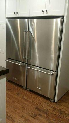 Double KitchenAid Bottom Freezer Refrigerators, Shaker Cabinets, Amerock  Blackrock Hardware, Red Oak Hardwood