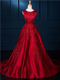 A-Line Round Neck Appliques Chapel Train Evening Dress