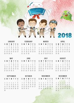 """Who you gonna call""....your Free Printable 2018 Ghostbusters Calendar to give you your favorite dates! Another great calendar in our ongoing collection!"