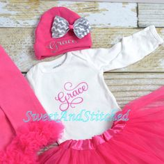 Hey, I found this really awesome Etsy listing at https://www.etsy.com/listing/281251384/personalized-newborn-outfit-in-hot-pink