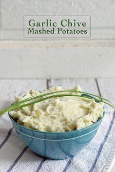 Garlic Chive Mashed Potatoes   www.honeyandbirch.com