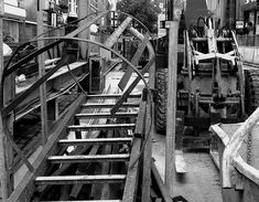 Black and White urban photography from the city - Construction still-life of construction equipment and building material at the metro construction site Vijzelgracht in Amsterdam; photography in the Netherlands, Fons Heijnsbroek, 2013