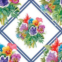 padrão de flores desabrochando — Ilustração de Stock #80078598