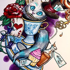 A close up of my latest neo traditional tattoo design based around the wonderful Alice in Wonderland, with a little dark twist of course!